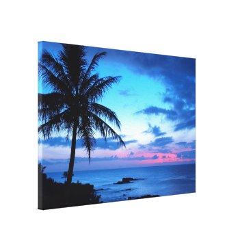 Beach Themed Tropical Island Pretty Pink Blue Sunset Landscape Canvas Print