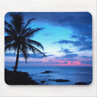 Tropical Island Pretty Pink Blue Sunset Landscape Mouse Pad