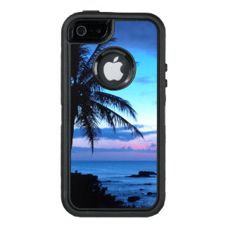 Tropical Island Pretty Pink Blue Sunset Landscape OtterBox Defender iPhone Case
