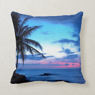 Tropical Island Pretty Pink Blue Sunset Landscape Throw Pillow