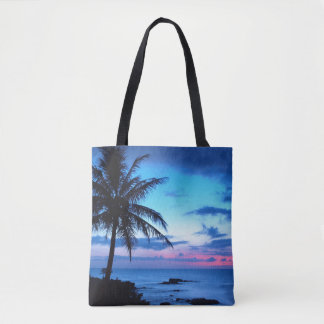 Tropical Island Pretty Pink Blue Sunset Landscape Tote Bag