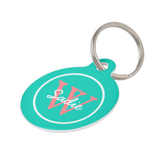Tropical Island Sea and Coral Pink Monogram Pet ID Tag
