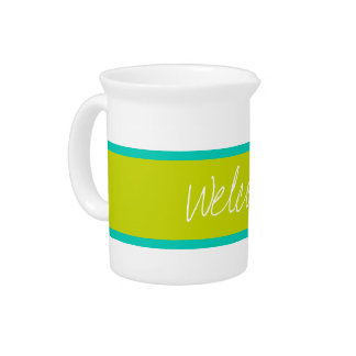 Tropical Island Sea and Lime Green Personalized Beverage Pitchers