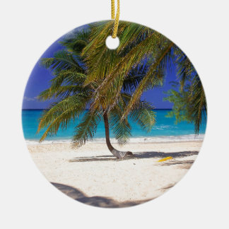 Tropical Island Seven Mile Grand Cayman Double-Sided Ceramic Round Christmas Ornament