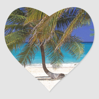 Tropical Island Seven Mile Grand Cayman Heart Stickers
