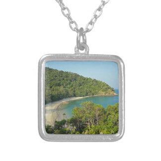 tropical island square pendant necklace