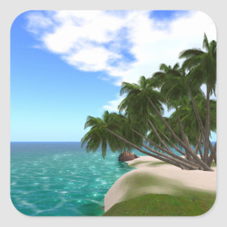 Tropical Island Square Stickers, Glossy Square Sticker