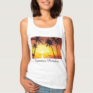 Tropical Island Summer Paradise Sunset Palm Trees Basic Tank Top