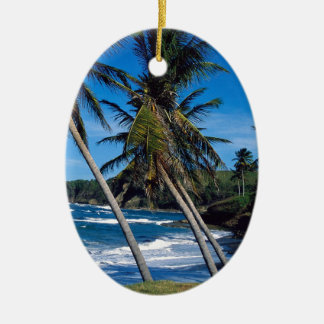Tropical Island Summer Waves St Lucia Christmas Tree Ornaments
