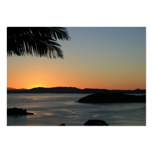 Tropical Island Sunset - Gift Certificate Business Cards
