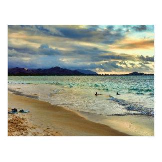 Tropical Island Sunset Glow Postcard