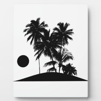 Tropical Island Sunset Scene Illustration Plaque