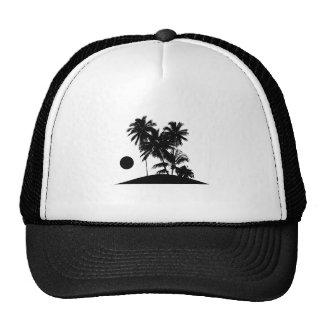 Tropical Island Sunset Scene Illustration Trucker Hat