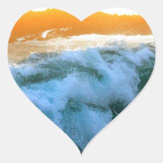 Tropical island sunset surf heart sticker