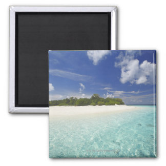 Tropical island surrounded by lagoon, Maldives, Magnet