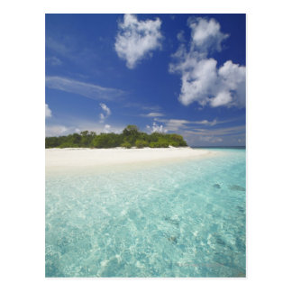 Tropical island surrounded by lagoon, Maldives, Postcards