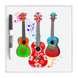 Tropical Island Ukulele Player Music Dry-Erase Board