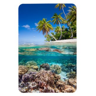 Tropical island under and above water magnet