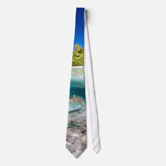 Tropical island under and above water neck tie