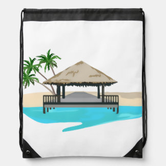 Tropical Island Welcome Dock Drawstring Bag