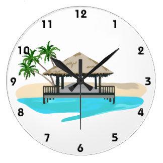 Tropical Island Welcome Dock Large Clock