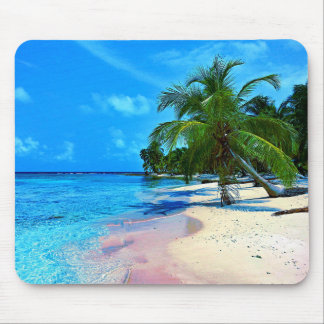Tropical Island With Palm Trees And Sandy Beach Mouse Pad