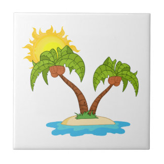 Tropical Island with Two Palm Trees Ceramic Tile