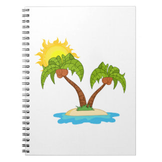 Tropical Island with Two Palm Trees Notebook