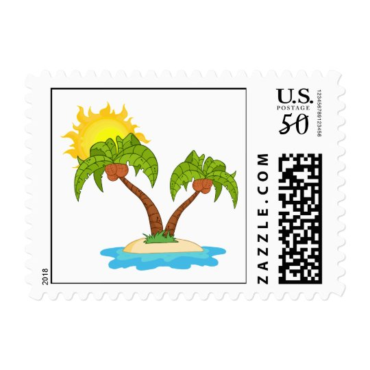 Tropical Island with Two Palm Trees Postage