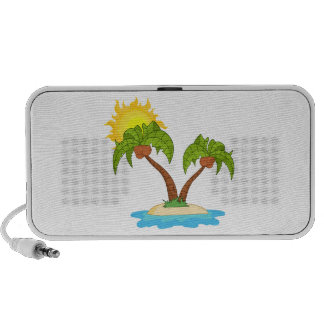 Tropical Island with Two Palm Trees iPod Speaker