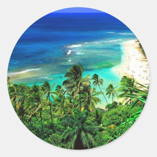 tropical islands classic round sticker
