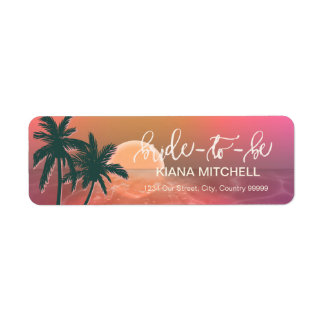 Tropical Isle Sunrise Bride-to-Be Pink ID581 Label