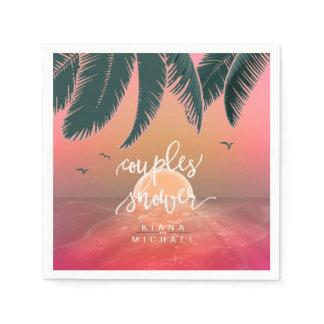 Tropical Isle Sunrise Couple's Shower Pink ID581 Napkin