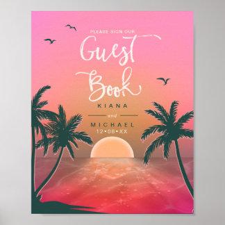 Tropical Isle Sunrise Guest Book Pink ID581