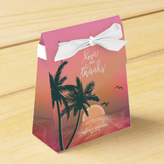 Tropical Isle Sunrise Love and Thanks Pink ID581 Favor Box