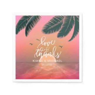 Tropical Isle Sunrise Love and Thanks Pink ID581 Napkin