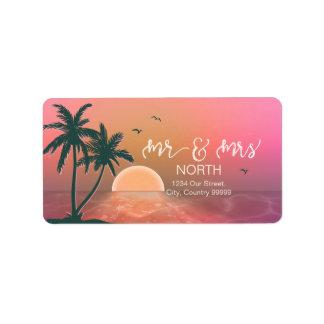 Tropical Isle Sunrise Mr & Mrs Pink ID581 Label