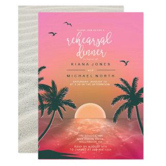 Tropical Isle Sunrise Rehearsal Dinner Pink ID581 Invitation