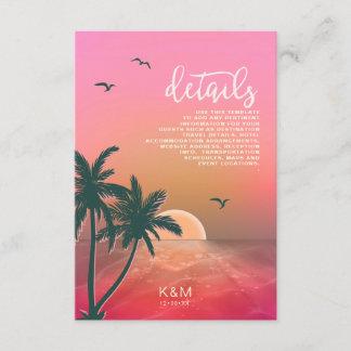 Tropical Isle Sunrise Wedding  Details Pink ID581 Enclosure Card