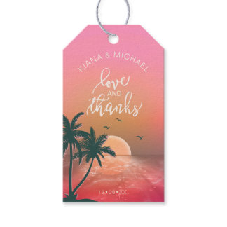 Tropical Isle Sunrise Wedding Melon ID581 Gift Tags