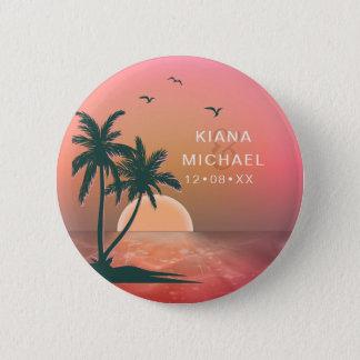 Tropical Isle Sunrise Wedding Pink ID581 Button