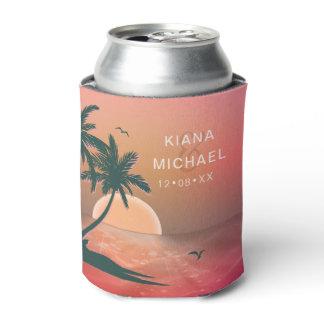 Tropical Isle Sunrise Wedding Pink ID581 Can Cooler