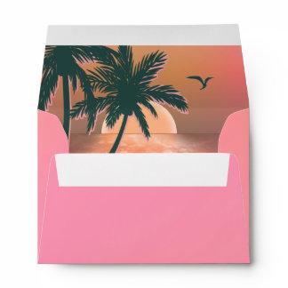 Tropical Isle Sunrise Wedding Pink ID581 Envelope