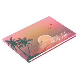 Tropical Isle Sunrise Wedding Pink ID581 Guest Book