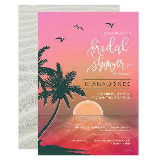 Tropical Isle Sunrise Wedding Pink ID581 Invitation