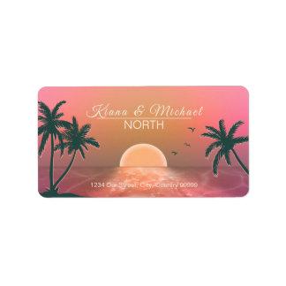 Tropical Isle Sunrise Wedding Pink ID581 Label