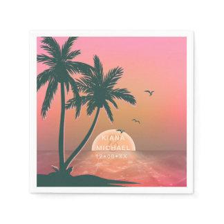 Tropical Isle Sunrise Wedding Pink ID581 Napkin