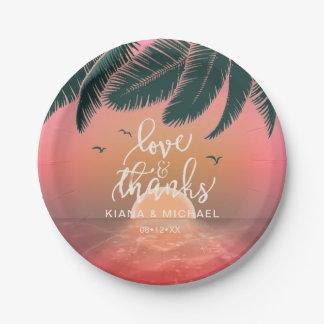Tropical Isle Sunrise Wedding Pink ID581 Paper Plate