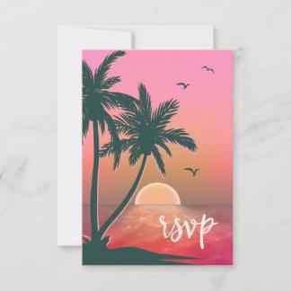Tropical Isle Sunrise Wedding Pink ID581 RSVP Card