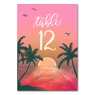 Tropical Isle Sunrise Wedding Pink ID581 Table Number